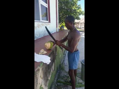 How to cut a coconut for drinking
