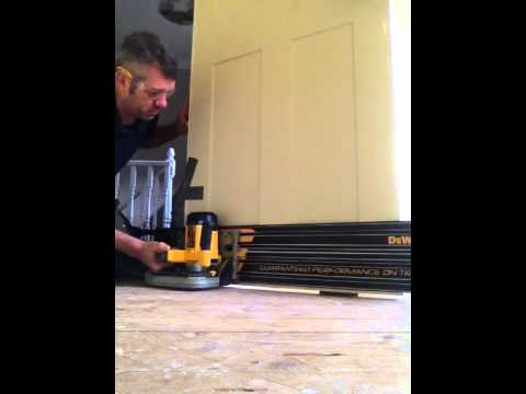 Door trimming with Plunge saw whilst still fitted to frame