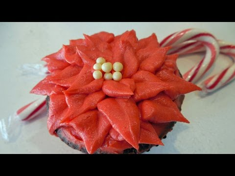 Make Poinsettia Christmas Holiday Cupcakes with Jill