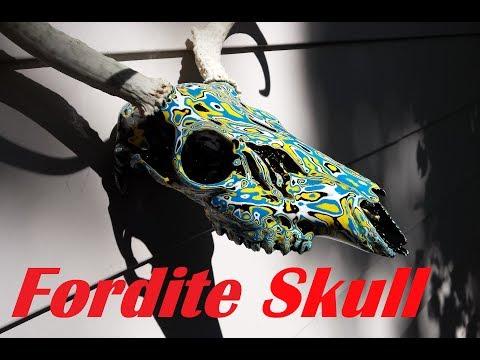 Layered Painted Deer Skull - Fordite Inspired