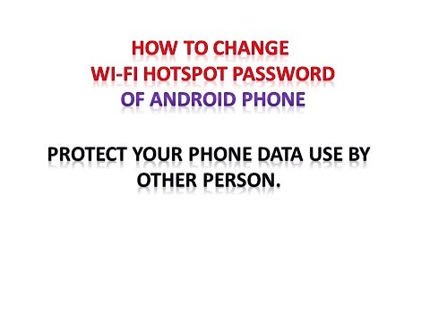 HOW TO CHANGE WI-FI HOTSPOT PASSWORD