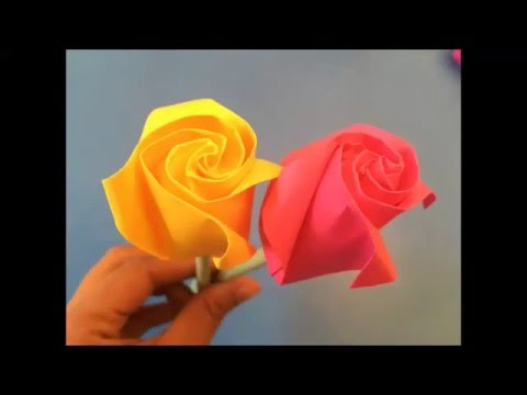 Easy origami rose instructions How to make an origami paper ROSE for beginners 如何折纸玫瑰 Rosa de papel