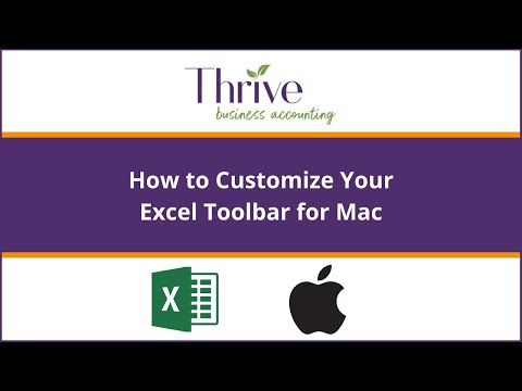 How to customize Mac Excel Toolbar