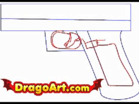 How to draw a gun, step by step