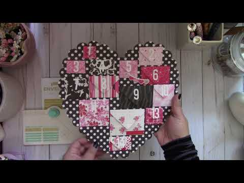 WRMK Mini Envelope Punch Board ~ Scalloped Heart Advent Calendar