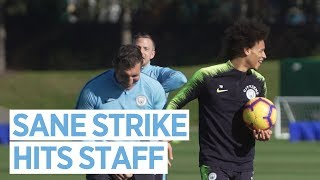 SANE FREE KICK TAKES OUT STAFF   Sun Drenched Training