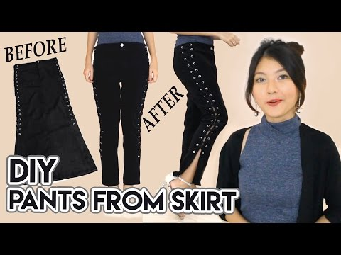 DIY Turn Old Skirt Into Pants | Lace Up Pants | Black Jeans / Denim | Clothes Transformation Upcycle