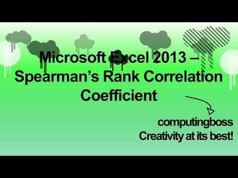 Microsoft Excel 2013 - Spearman's Rank Correlation Coefficient