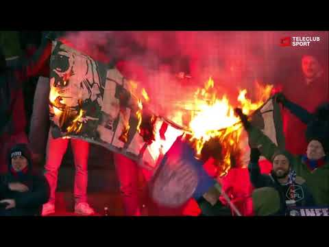 Switzerland: Basel fans steal and burn the flag of Sion (