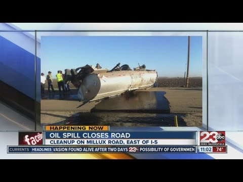 Oil spill cleanup closes Millux Road
