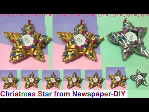 christmas star making with newspaper/Christmas tree decorating ideas 2017|easy Christmas decorations