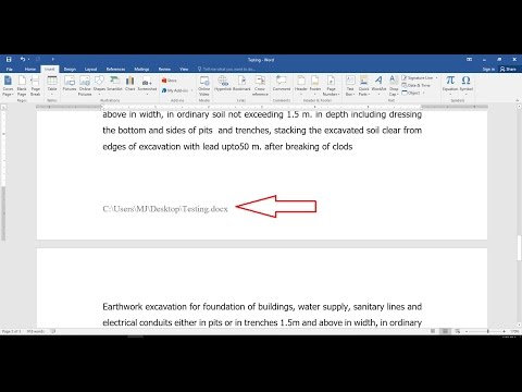 How to Insert File Location in MS Word Header Footer (2003-2016)
