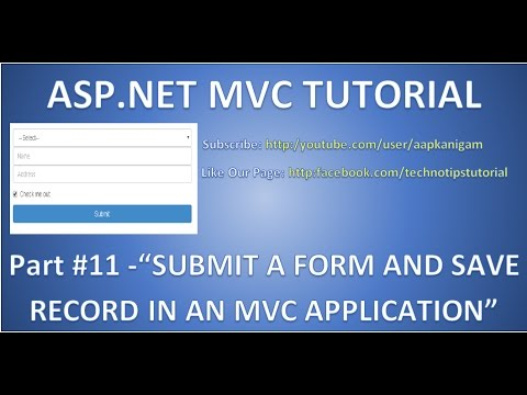 Part 11 - Insert data into database in ASP.NET MVC | Submit a Form and Save Record | HD Video