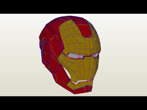 Iron man helmet from blender to paper (papercraft)