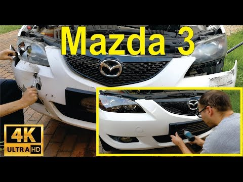 How to change the front headlight and bumper on a Mazda 3-  detailed