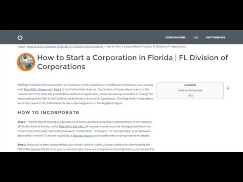 How to Start a Corporation in Florida   FL Division of Corporations
