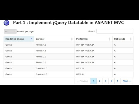Part 1 - Implement jQuery Datatable in ASP.NET MVC application.