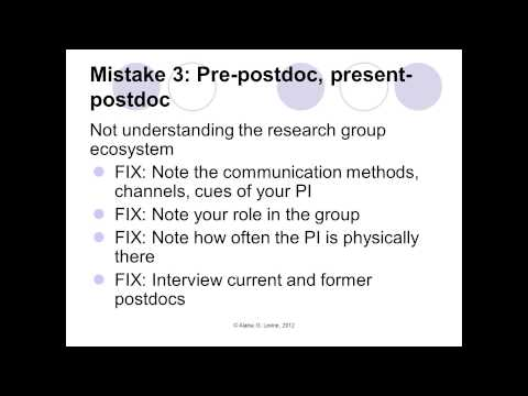 The Biggest Mistakes You Should Never Make in the Postdoc And How to Avoid or Recover From Them