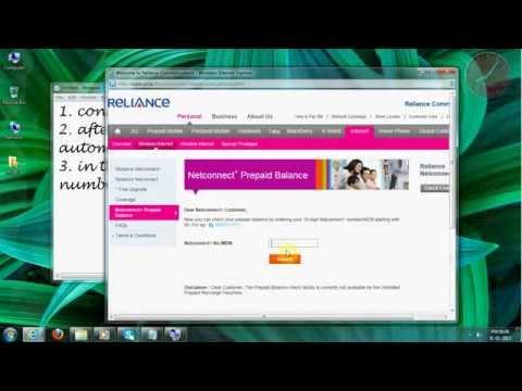 reliance netconnect+ (prepaid) balance enquiry.