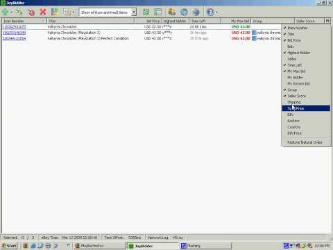 FREE Firefox ebay auction sniper add-on: customize columns