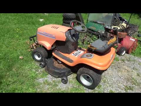 Free Tractor, unlucky Husqvarna, abandoned until a tree fell on it,