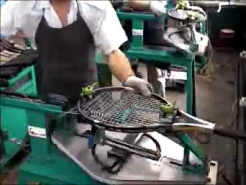 Tennis racquet factory stringing
