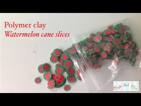 Watermelon cane /cane slices! (Polymer clay tutorial)