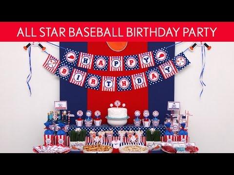 All Star Baseball Birthday Party Ideas // All Star Baseball  - B118