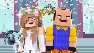 LITTLE KELLY MARRYS THE NEIGHBOUR TO SAVE LITTLE CARLY! Minecraft Hello Neighbour
