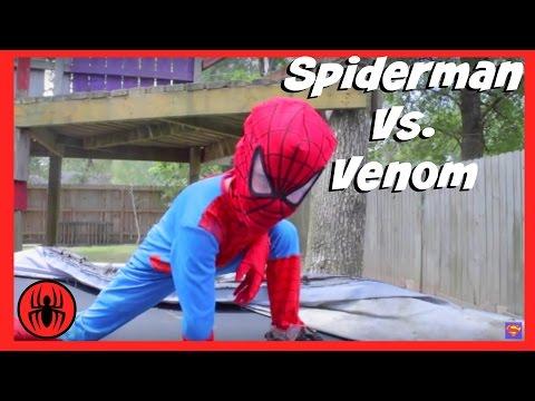 Little Heroes Spiderman vs Venom | Real Life Superhero Kids Movie Trampoline Fight
