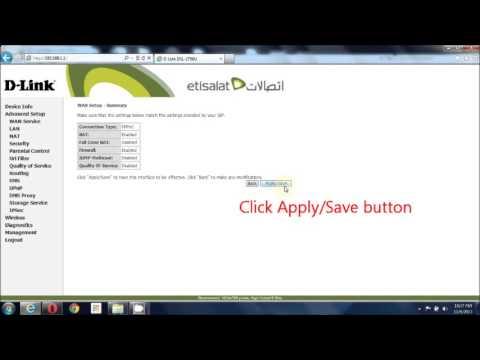 Configuring Etisalat DSL 2750U