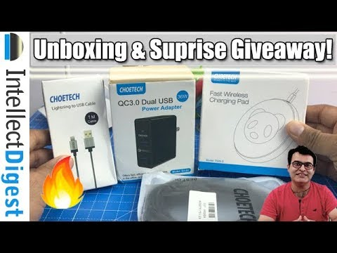 Choetech Wireless Fast Charger, QC 3.0 USB Charger & Accessories Unboxing & Surprise Giveaway