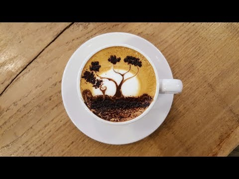How To LatteArt: A Sunset Tree