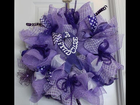 How to make a deco mesh wreath with the poof petal method for cancer awareness hodgkins
