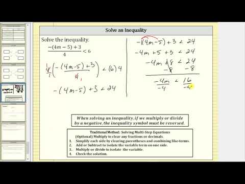 Solve an Inequality (-(4m-5)+3)/4 less than 6