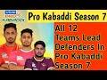 All 12 Teams Lead Defender39s In Pro Kabbadi Season 7 Sports Academy