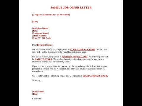 what should you look out for job offer letter before signing it.