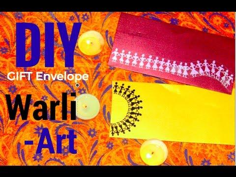 DIY Envelope using Warli Art   Learn warli art   Wedding gift envelope   Warli art for beginners