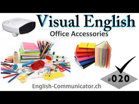 #020 Visual English Language Learning Practical Vocabulary Office Stationary Furniture Part 3