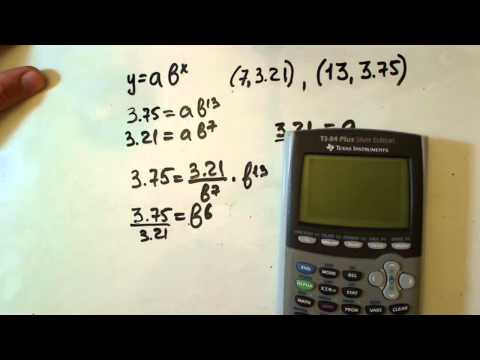 exponential function from given two points