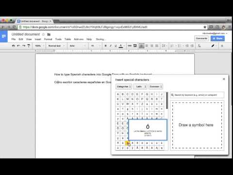 Typing Spanish characters in Google Docs