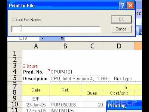 Microsoft Office Excel 2003 Print a workbook to a file