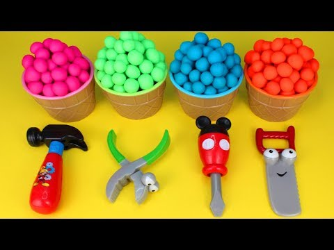 Play Doh Surprise Toys Mickey Mouse Tools PJ Masks Mashems Om Nom Surprise Egg Minion Surprise Toys