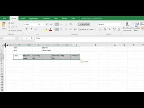 Lesson Plans 1 : Creating A Lesson Plan in Excel