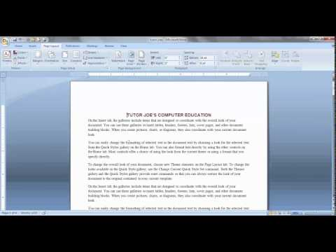 Page Layout Menu Microsoft Office Word Tamil Part-1