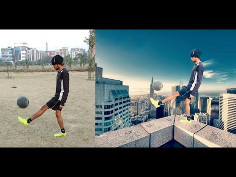 Picsart Editing Football Playing Edge Of Building I pics art creative  without photoshop