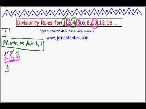 Divisibility Rules for 1, 2, 4, 5, 6, 8, 10, 12, ... (Tanton Mathematics)