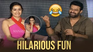 Prabhas and Shraddha Kapoor Making Hilarious Fun @ Saaho Press Meet | Manastars