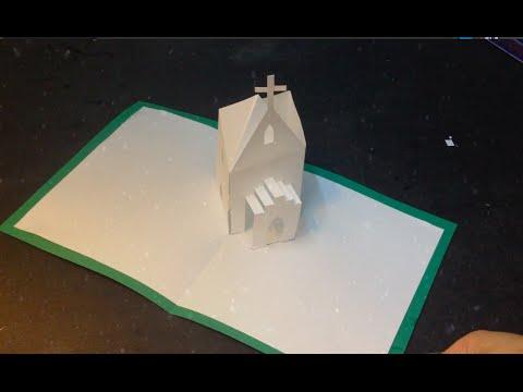 Easy 3D Church Pop Up Card, Kirigami Tutorial