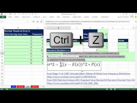 Excel Magic Trick 1185: Calculate Standard Deviation from Frequency Distribution in Excel